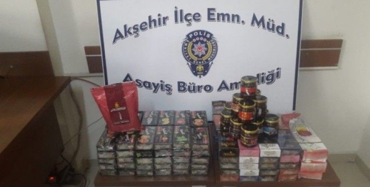 Polisin durdurduğu otomobilde 20 kilo kaçak nargile tütüne ele geçirildi