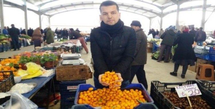 Hisarcık'ta şifa deposu Kumkuat meyvesi ilk defa tezgahlarda