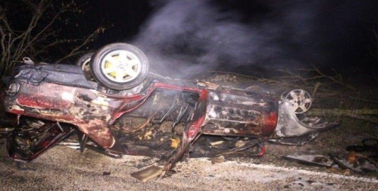 Çan'da takla atan araç alev aldı: 1 ağır yaralı