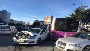 Ataşehir'de feci kaza İstanbul Otobüs AŞ'ye ait otobüs ile otomobil çarpıştı