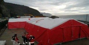 Sarp Sınır Kapısı'nda koronaviris tehdidine karşı 100 yataklı sahra çadırı kuruldu