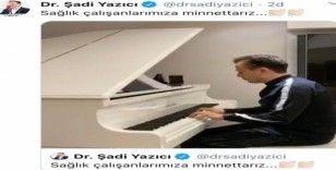 Başkan Dr. Şadi Yazıcı'dan sağlık çalışanlarına sosyal medyadan mini piyona konseri ile destek