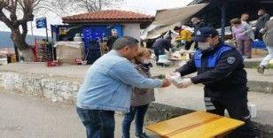 Menteşe'de halk pazarında Korona virüs önlemi
