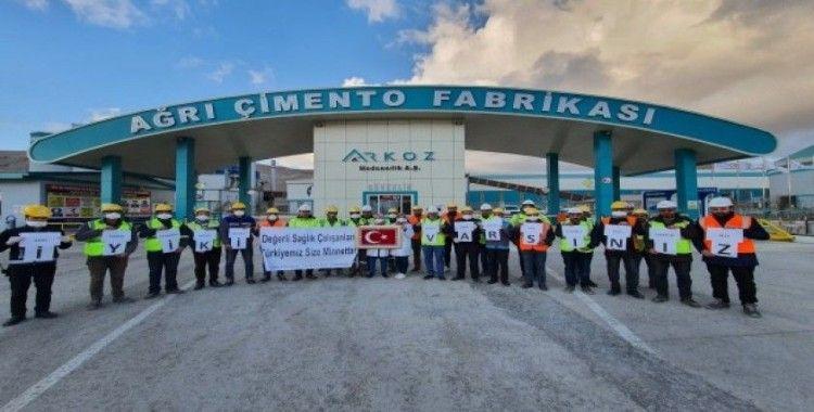 Ağrı Çimento çalışanlarından sağlık görevlilerine destek