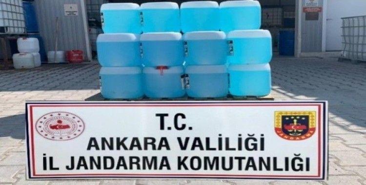 Jandarma 460 litre kaçak dezenfektan malzemesi ele geçirdi