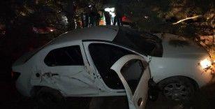 Kontrolden çıkan otomobil ağaca çarpıp şarampole uçtu: 1 ölü 3 yaralı