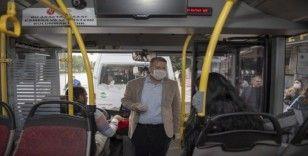 Mersin'de zabıta ekipleri korona virüsüne karşı toplu taşıma araçlarını denetleyior