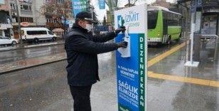 İzmit sokaklarına dezenfektan otomatları yerleştirildi