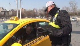 Taksim'de ticari taksi ve otobüslere uygulama