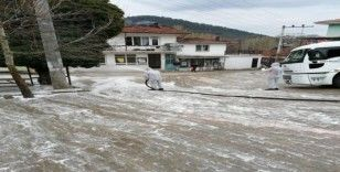 Karantinaya alınan Yeşildere köyüne dezenfekte desteği