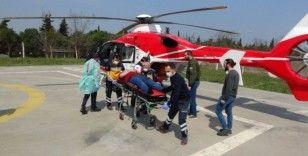 Patpat kazasında yaralanan genç ambulans helikopterle hastaneye kaldırıldı