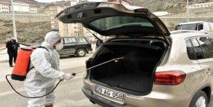Gümüşhane'den geçen her araç dezenfekte ediliyor