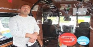 İzmir'de taksi ve dolmuşlardan salgına karşı brandalı önlem