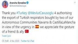 İspanya Dışişleri Bakanı Laya'dan solunum cihazları için Türkiye'ye teşekkür