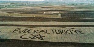Çiftçiler traktörle tarlaya ' Evde kal Türkiye' yazdı