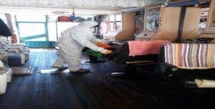 Hüyük'te belediye tarafından berber ve kuaför salonları dezenfekte edildi