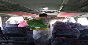 İşçi servisleri dezenfekte edildi