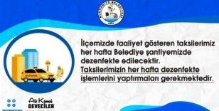 Burhaniye'de taksiler dezenfekte edildi