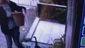 İzmir'de bir kadın saksı çalarken kameraya yakalandı