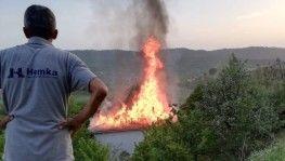 Gözleme yaparken evi yaktılar