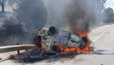 Otoyolda meydana gelen kazada 2 kişi yanarak hayatını kaybetti