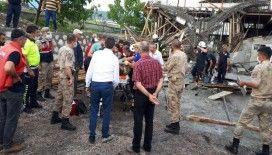 Amasya'da bir fabrika inşaatında göçük meydana geldi