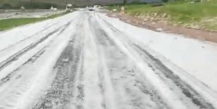 Dolu yağışı köyü beyaza bürüdü