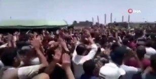 Rejim askerlerinin cenaze töreninde Esad ve İran karşıtı gösteri
