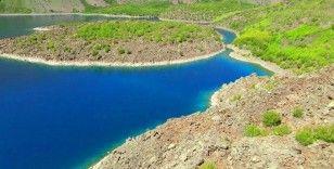 Nemrut Krater Gölü'nün muhteşem manzarası havadan görüntülendi