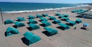 Deniz kenarına izinsiz kurulan çadırlar kaldırıldı
