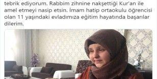 Diyanet İşleri Başkanı Erbaş'tan Kur'an-ı Kerim'i hıfzeden Koçaker'e tebrik mesajı