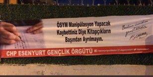 CHP'li gençlerden provokatif sınav pankartı