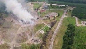 Havai fişek fabrikasındaki yangın böyle görüntülendi