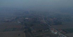 Alevler nedeniyle boşaltılan Kumköy havadan görüntülendi