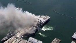 ABD'de yanan savaş gemisinde 21 kişinin yaralandığı açıklandı