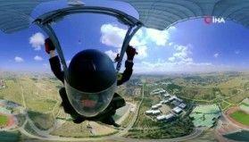 Jandarmadan 360 derece açılı özel paraşüt atlayışı