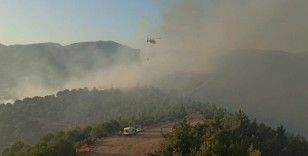 İzmir'de korkutan orman yangını: 2 helikopter, 9 arazöz müdahale ediyor
