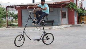 Sosyal mesafe için 2 buçuk metre uzunluğunda bisiklet yaptı