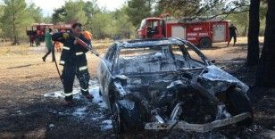 Lüks otomobil ormanlık alanda alev alev yandı