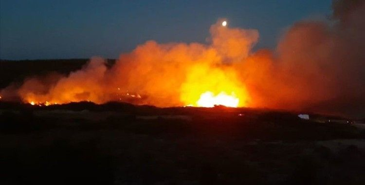 Bozcaada'da makilik alanda yangın çıktı