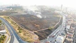 Maltepe'de yanan askeri alanın son hali havadan görüntülendi
