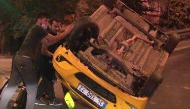 Ümraniye'de taksi takla attı