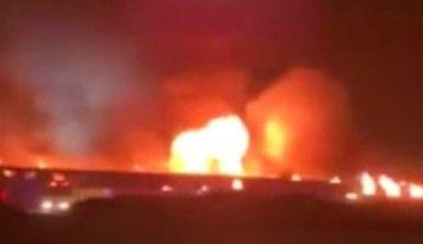 Suudi Arabistan'da tren istasyonunda korkutan yangın