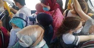 Halk otobüsünde nefes alacak yer kalmadı