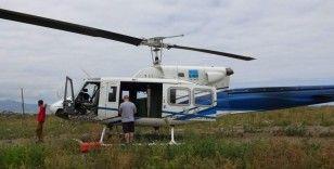 Trabzon'da dolgu alanına inen helikopter paniğe neden oldu