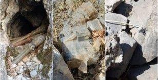Hakkari'de teröristlere ait el yapımı patlayıcı ile 6 roketatar mühimmatı imha edildi