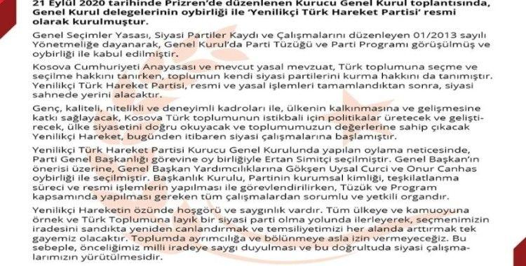 """Kosova'da """"Yenilikçi Türk Hareket Partisi"""" adıyla yeni siyasi parti kuruldu"""