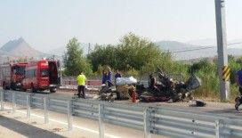Hurdaya dönen aracın sürücüsü yaralandı