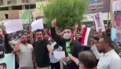 Fransa'nın Bağdat Büyükelçiliği binası önünde protesto