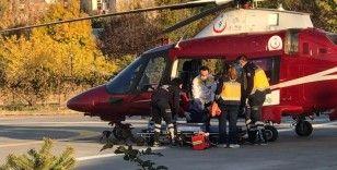 Kalp krizi geçiren yaşlı kadının imdadına ambulans helikopter yetişti